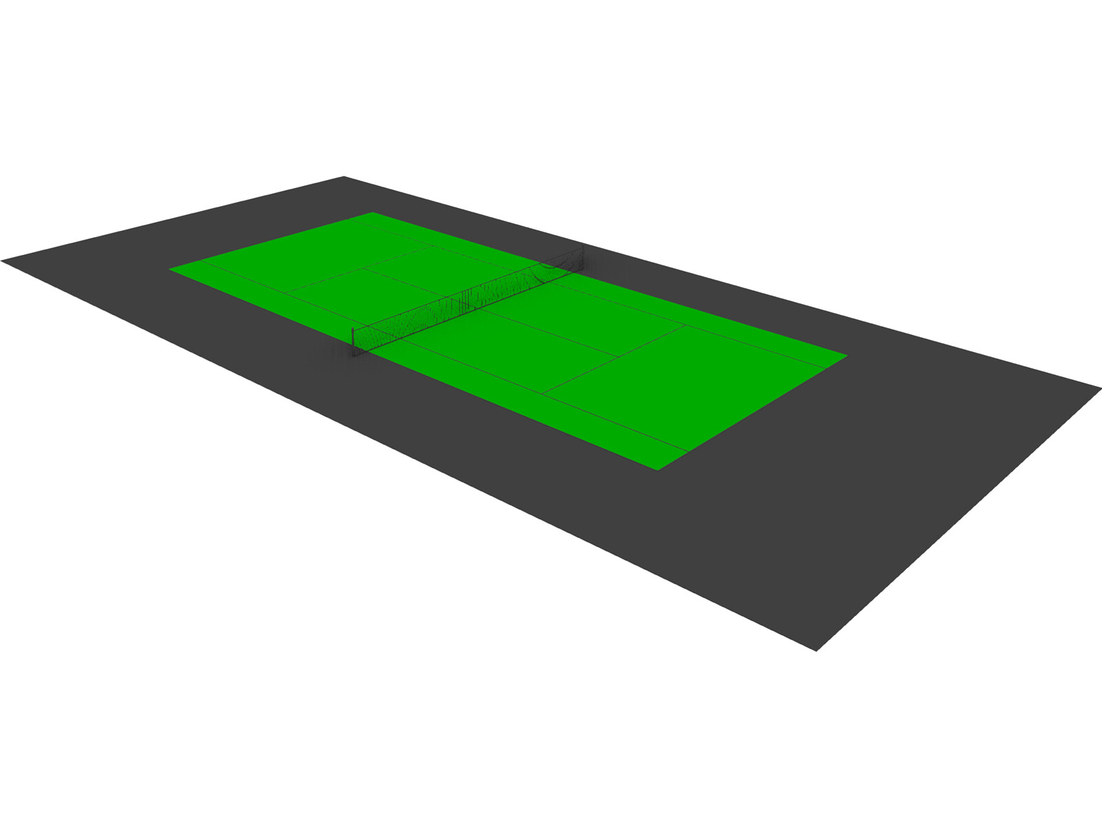 Tennis Court 3D CAD Model