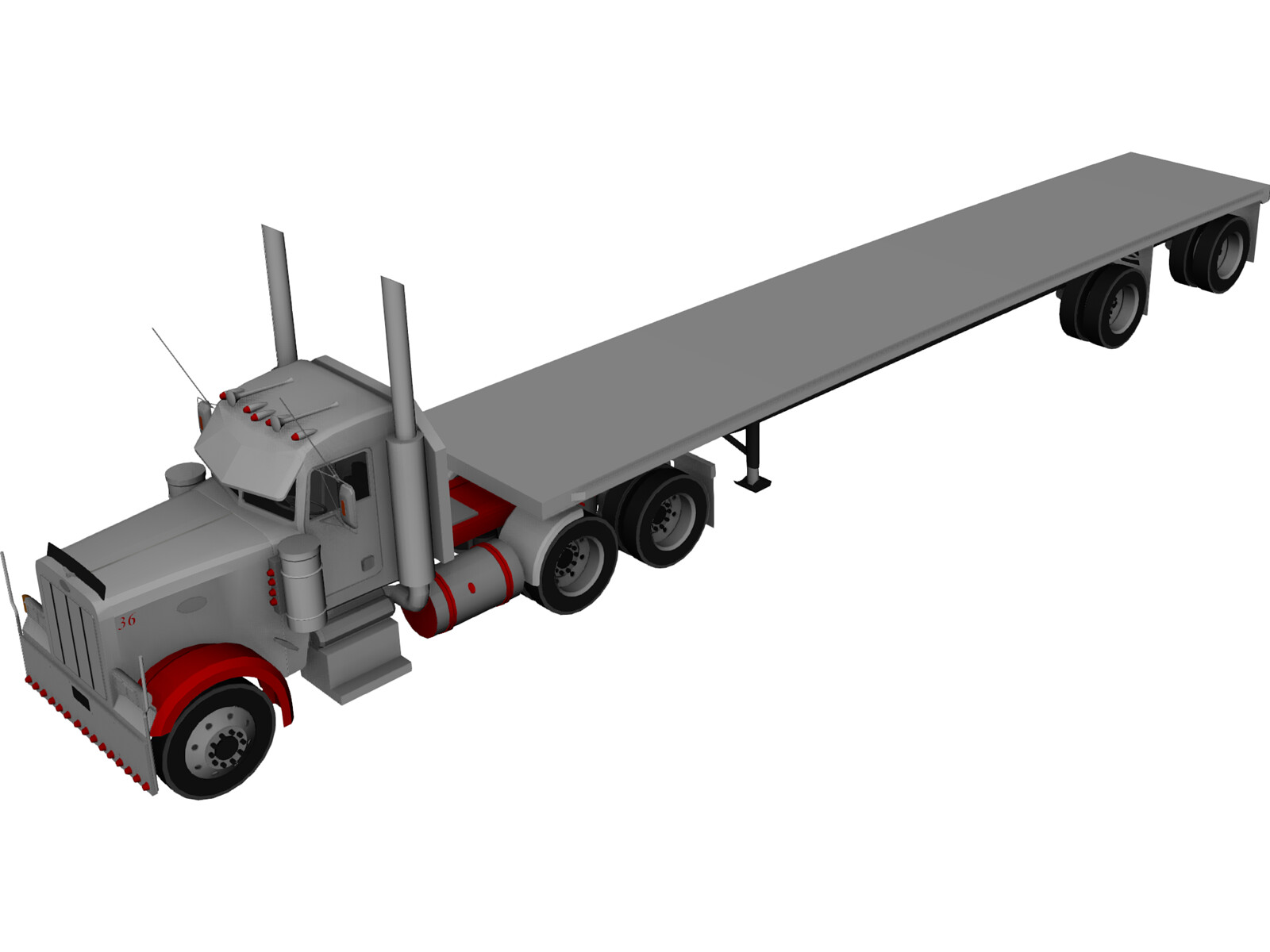Peterbilt Semi Tractor-Trailer 3D Model