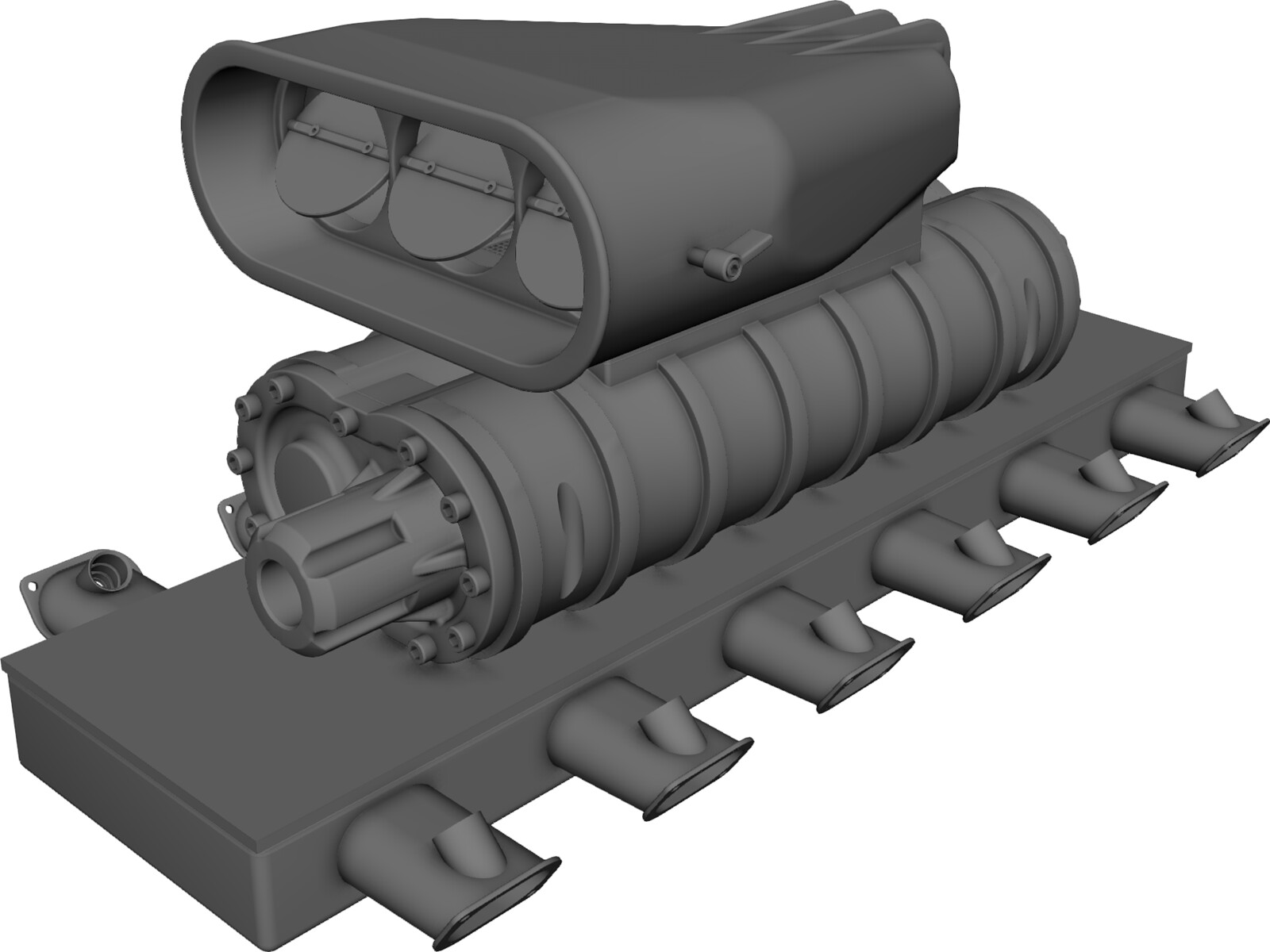 Intake Manifold With Supercharger 3d Cad Model 3d Cad