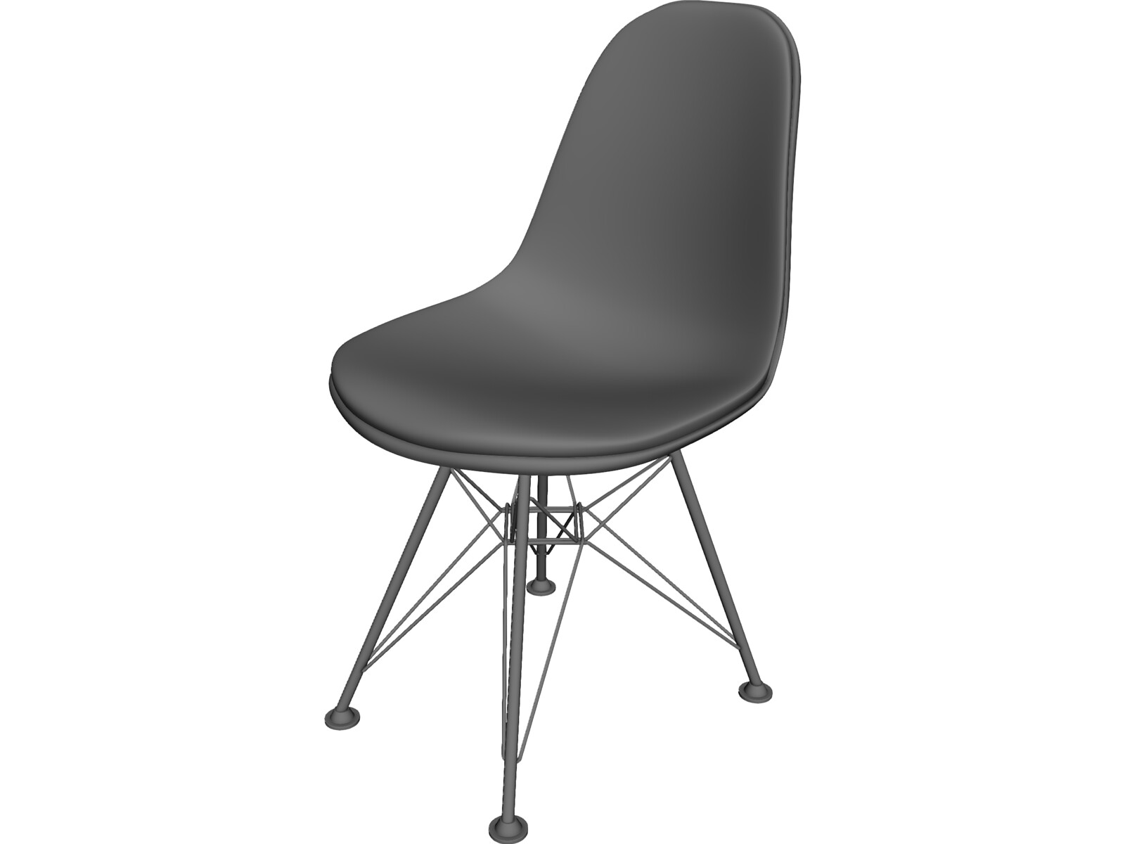 Plastic side chair 3d model 3d cad browser for Chair 3d model maya