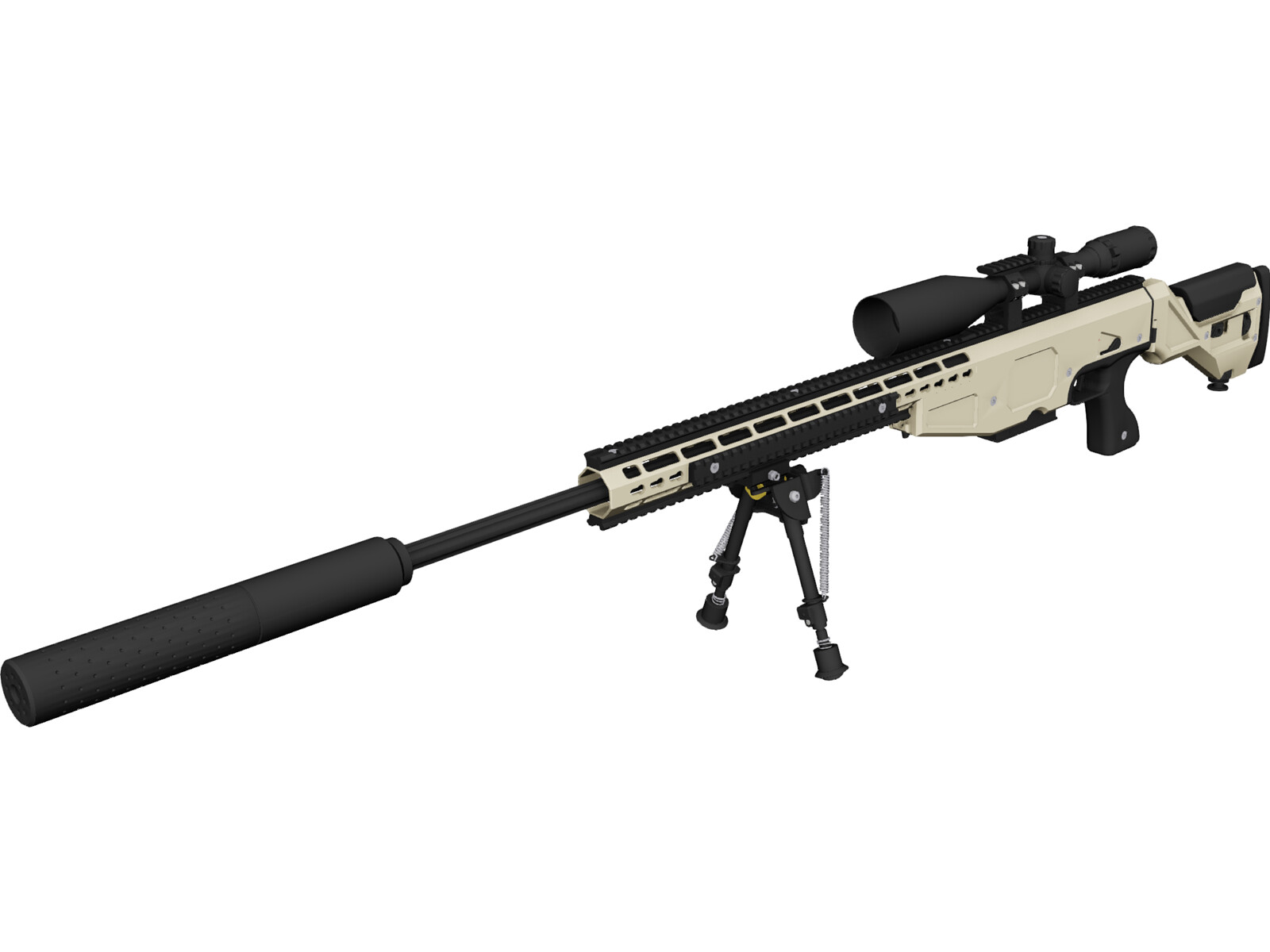 .338 Lapua Magnum Sniper Rifle 3D CAD Model