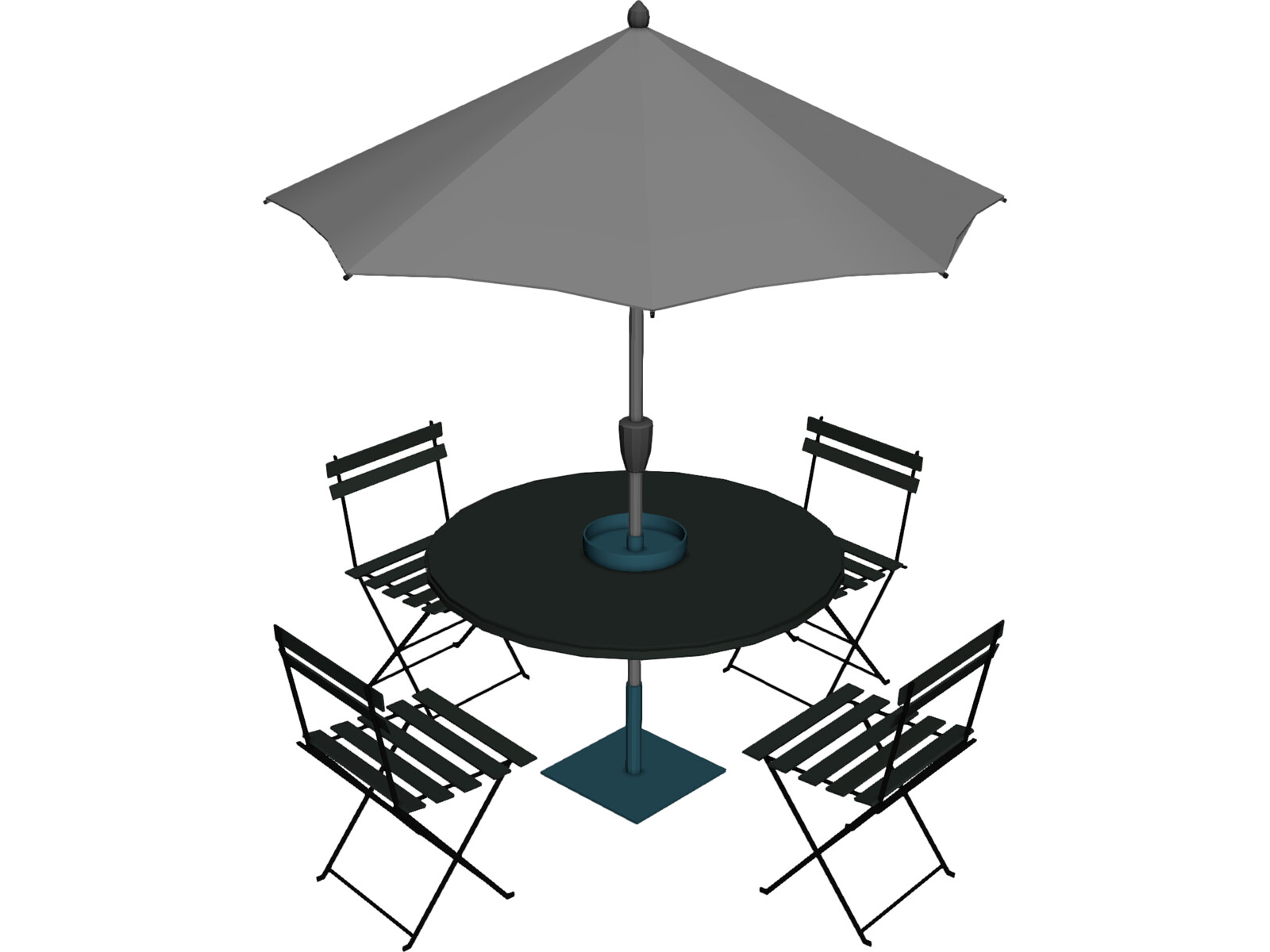 Table And Chairs With Beach Umbrella 3D Model