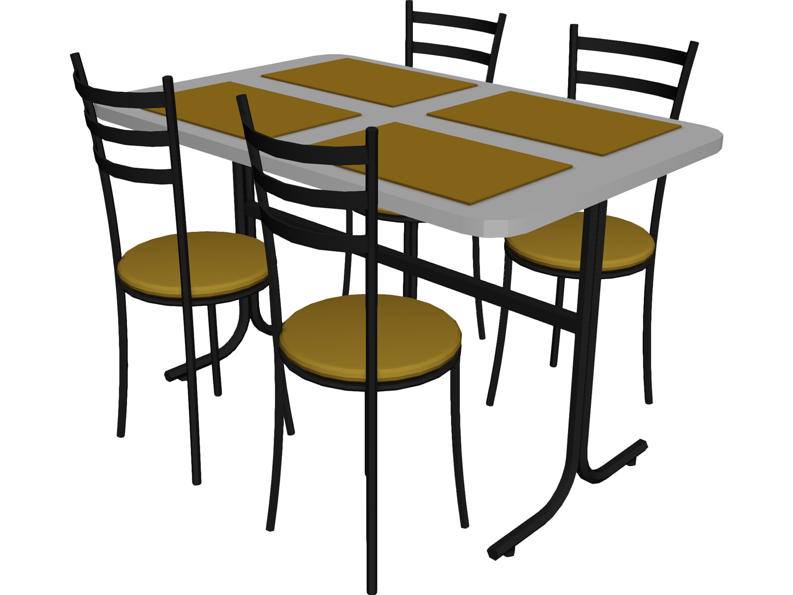 table and chairs snack bar 3d model 3d cad browser. Black Bedroom Furniture Sets. Home Design Ideas