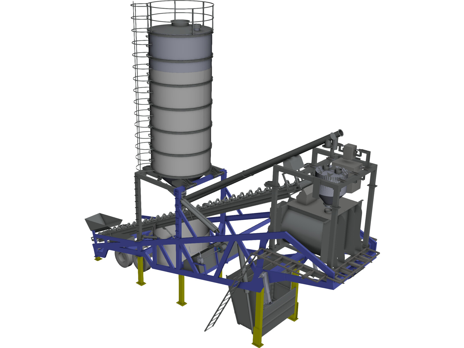 Mobile concrete batching plant mixer 3d cad model 3d cad for Mobel cad programm