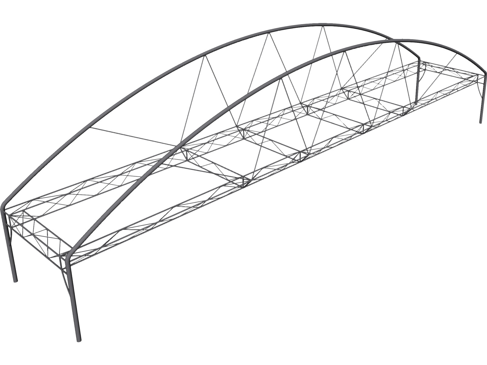 arched fink truss bridge 3d cad model