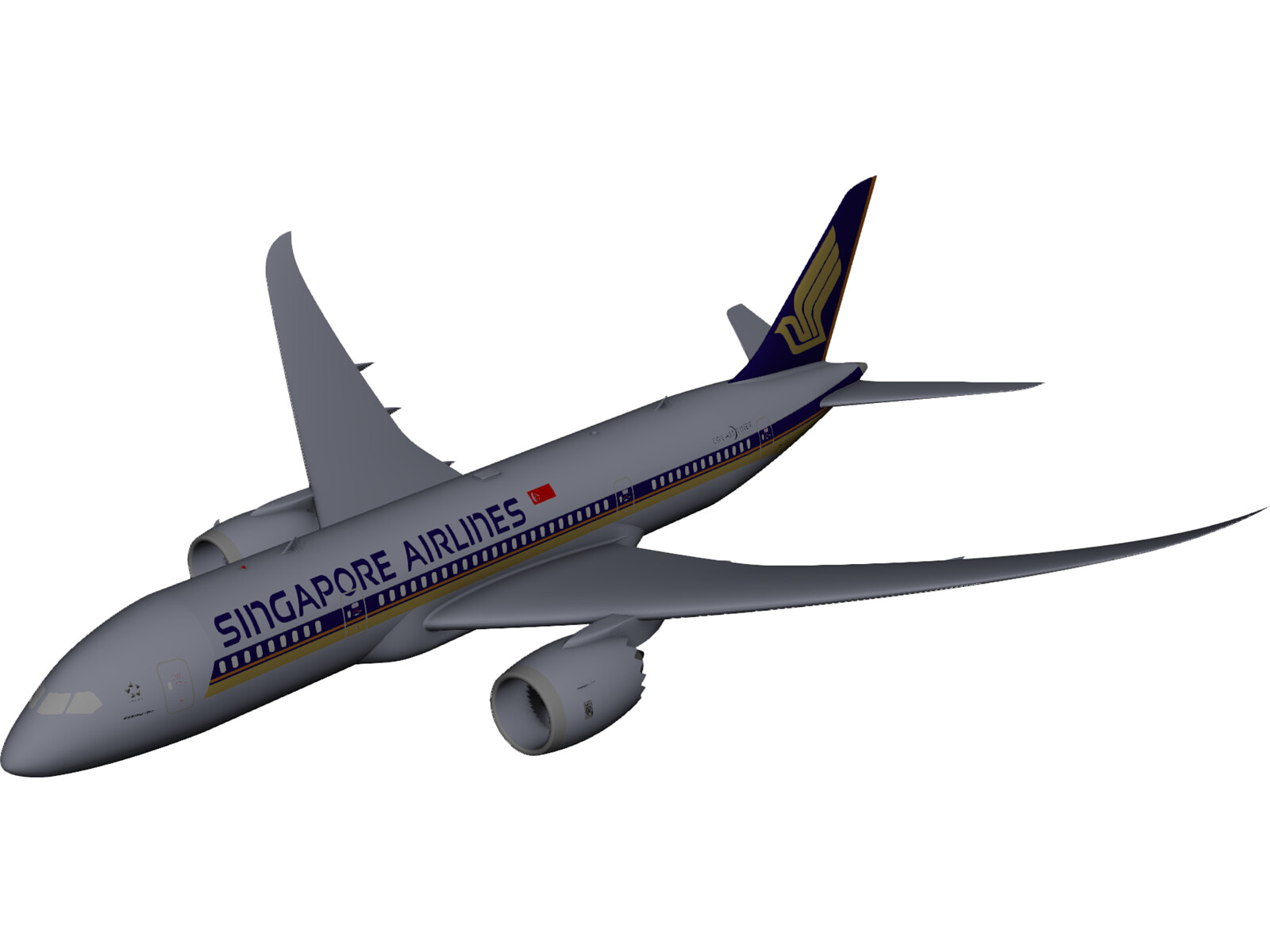 Boeing 787-800 Singapore Airlines 3D CAD Model