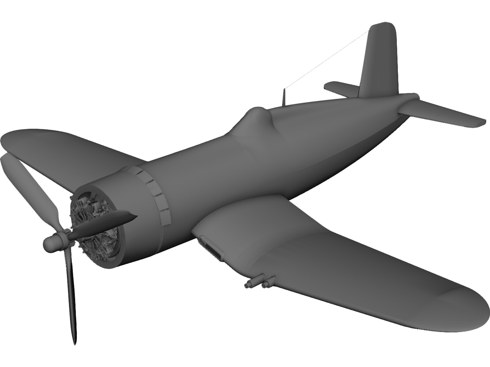 World War Two Fighter Plane 3D CAD Model