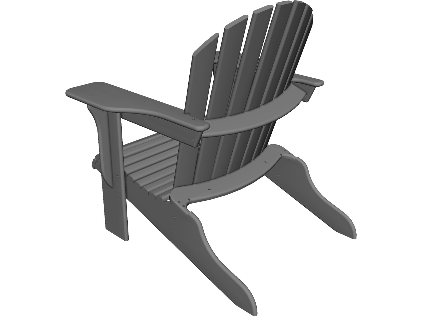 Adirondack chair 3d model 3d cad browser for Chair 3d model maya