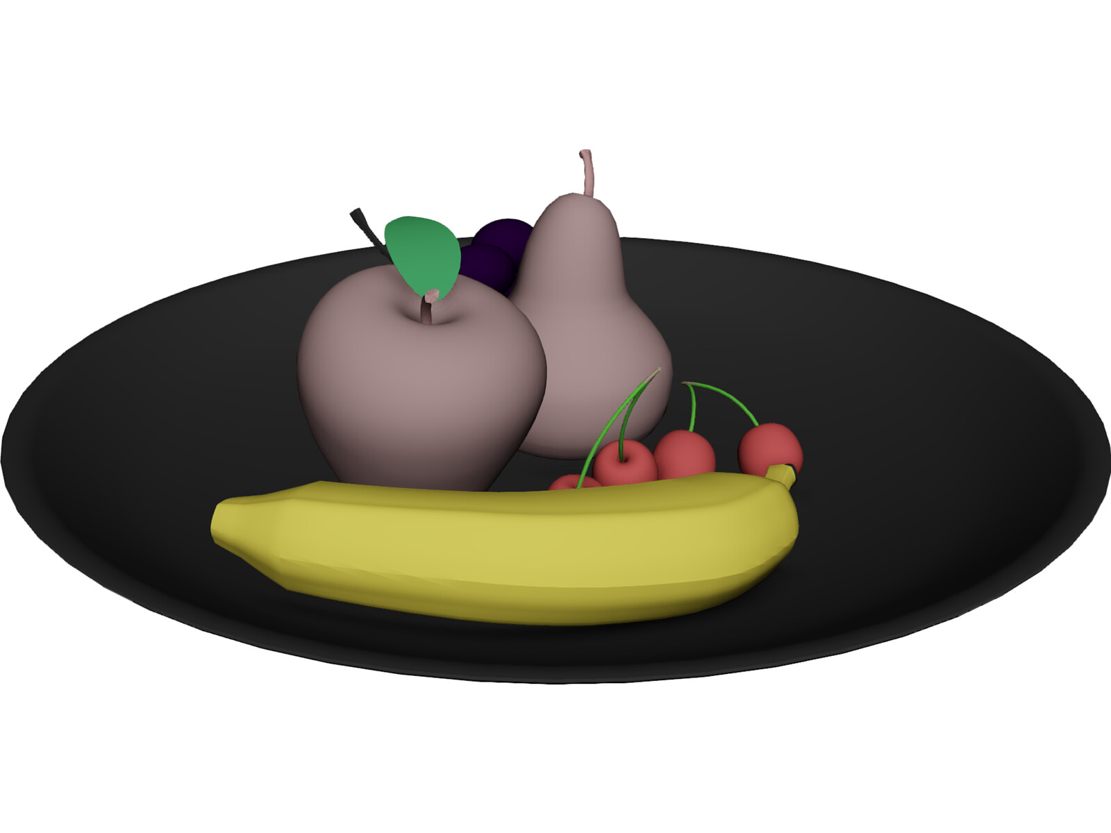 Fruits On Plate 3D Model