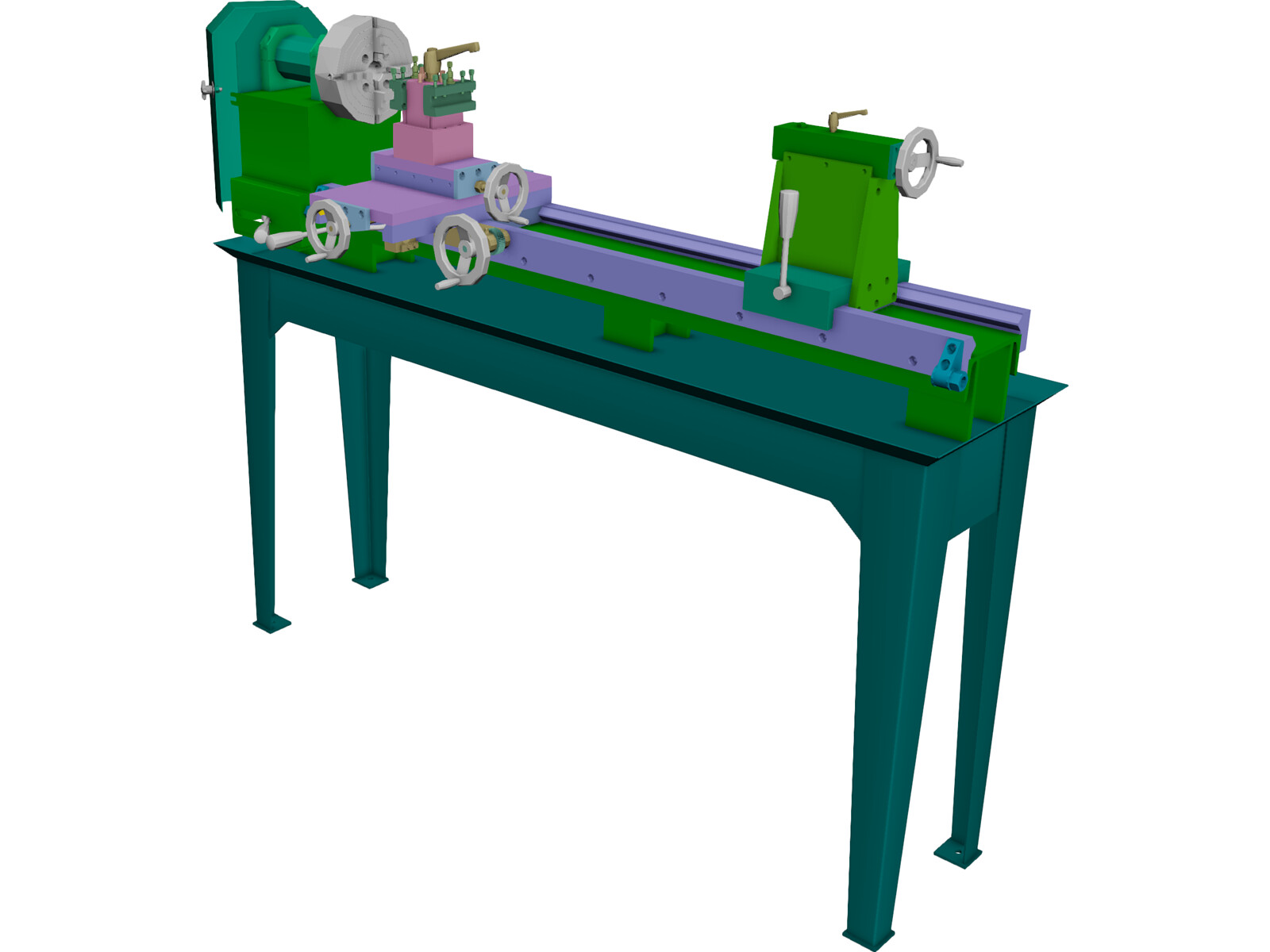 Metal Lathe 3D Model