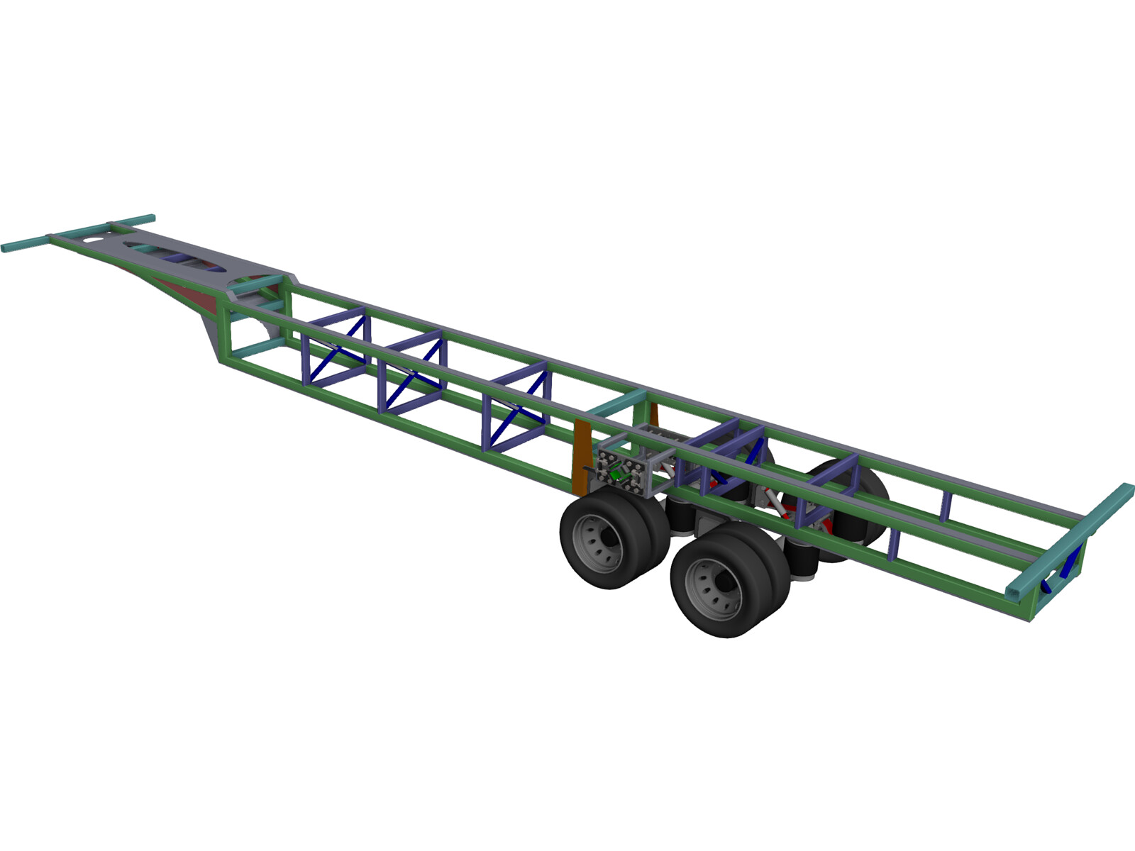 Prototype Trailer Chassis with Suspension 13.6m 3D CAD Model