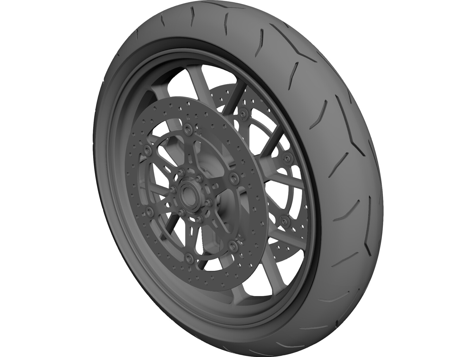 Motorcycle Front Wheel 3D CAD Model