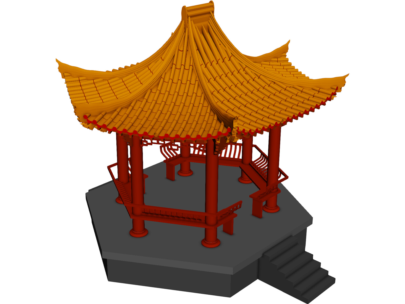 China garden house 3d model 3d cad browser for Garden design in 3ds max