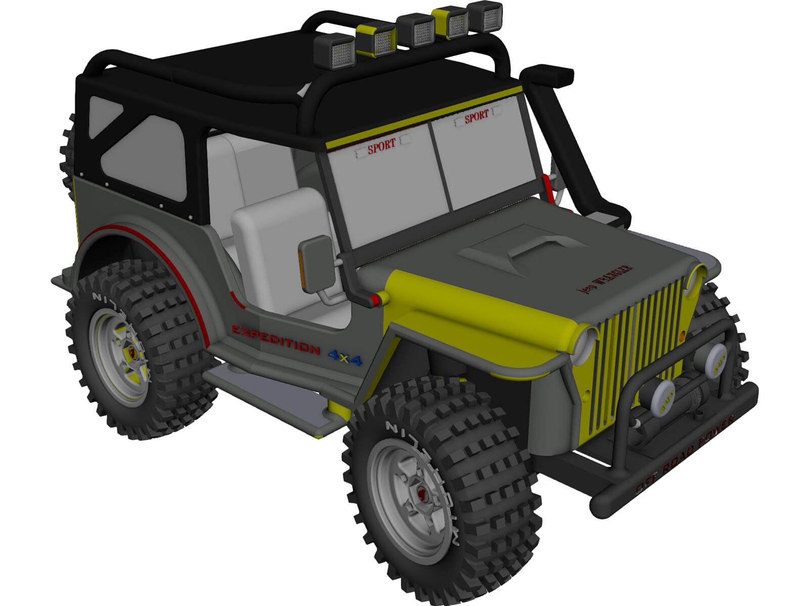 Jeep Wrangler 4x4 Expedition 3D CAD Model