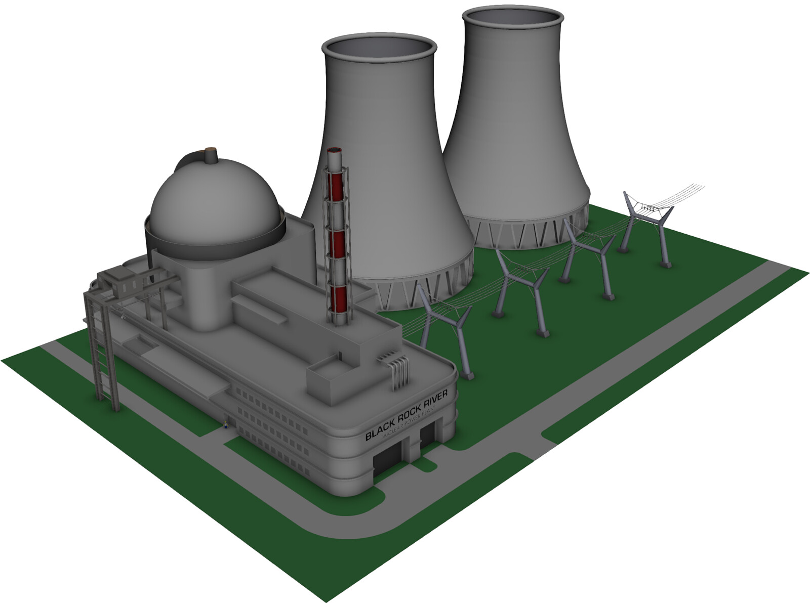 Black Rock River Nuclear Power Plant 3D Model