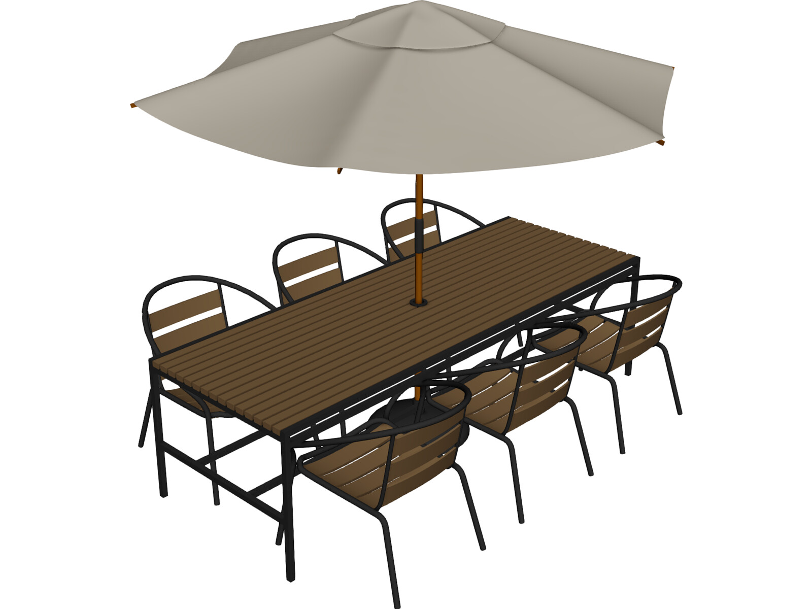 Outdoor chairs table and umbrella 3d model 3d cad browser for Outdoor furniture 3d max