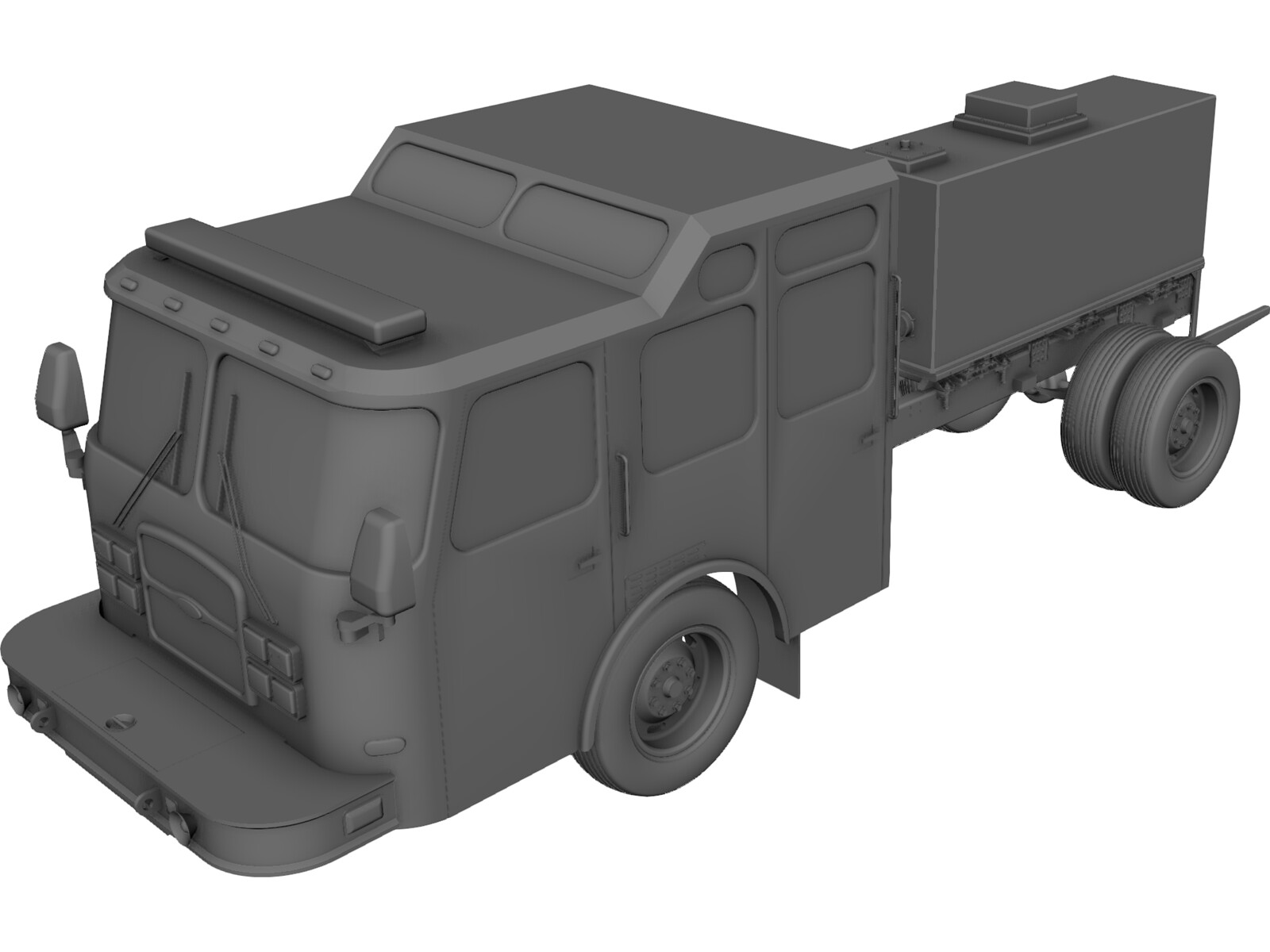 US Fire Truck Chassis 3D CAD Model