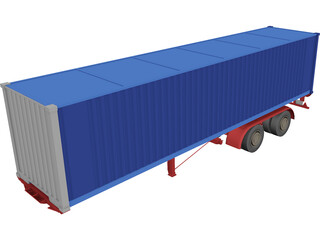 Renault Magnum Container Trailer 3D Model