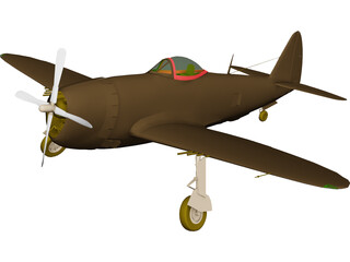 Republic P-47 Thunderbolt Bubble Canopy 3D Model