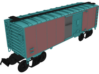 Cargo Wagon Car Box 3D Model 3D Preview