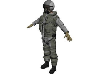 Fighter Pilot 3D Model 3D Preview
