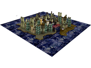 City Part at Midnight 3D Model