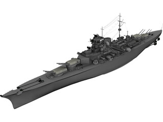 Battleship Bismarck 3D Model 3D Preview