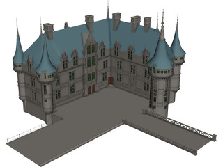 Chateaux Azay Le Rideau 3D Model 3D Preview