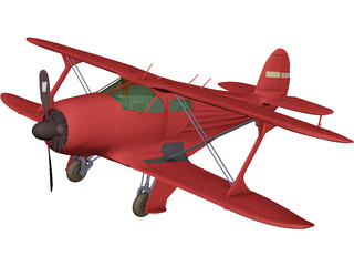 Beechcraft G17S Staggerwing 3D Model