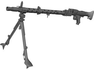 German Machinegun MG34 WWII 3D Model