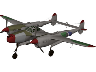 Lockheed P-38 J/L Lightning 3D Model