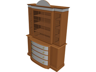 Bookcase Satinwood 3D Model