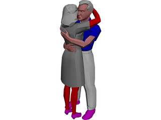 Adults Hugging 3D Model