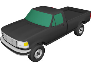 Ford F350 Pickup (1993) 3D Model 3D Preview