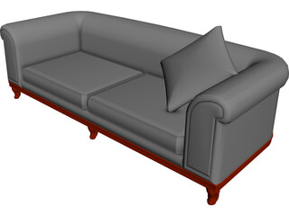 Sofa Round Back 3D Model 3D Preview