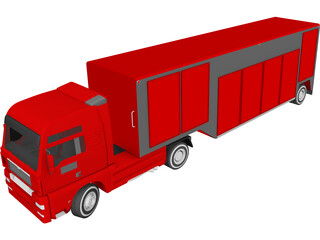 Euro Semi Truck with Trailer 3D Model