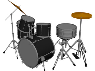 Drum Set 3D Model 3D Preview