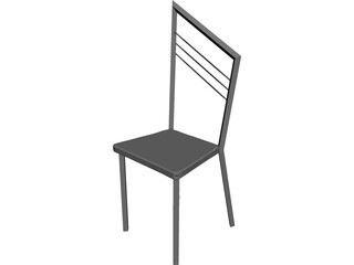 Steel Kitchen Chair with Wooden Seat 3D Model