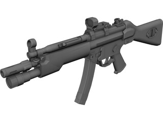 H&K MP5A4 Tactical Submachinegun 3D Model