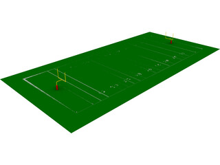 American Football Yard 3D Model 3D Preview