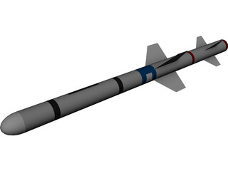 RIM-7 Sea Sparrow Missile 3D Model