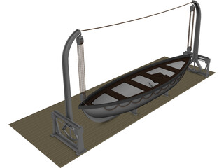 Lifeboat and Davits 3D Model