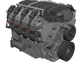 GM LS3 Engine CAD 3D Model