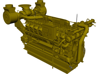 Caterpillar C35 Engine CAD 3D Model