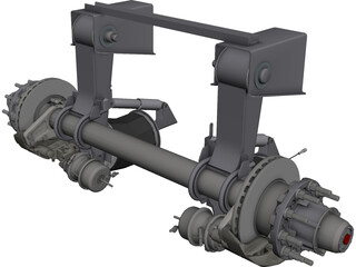 Truck Axle with Brakes CAD 3D Model