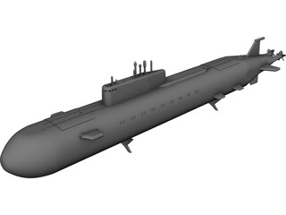 K-141 Submarine CAD 3D Model