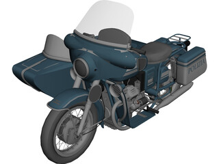 Moto Guzz with Sidecar 3D Model
