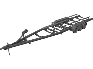 Car Boat Trailer 3D Model