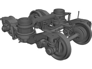 Train Bogie Y32 CAD 3D Model