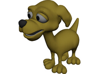 Happy Dog Cartoon 3D Model